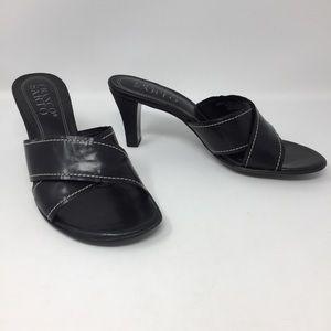 Franco Sarto Black Genuine Leather Slides Sandals